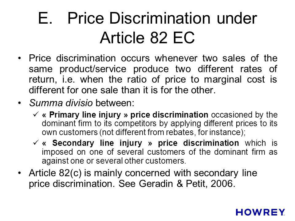 E. Price Discrimination under Article 82 EC