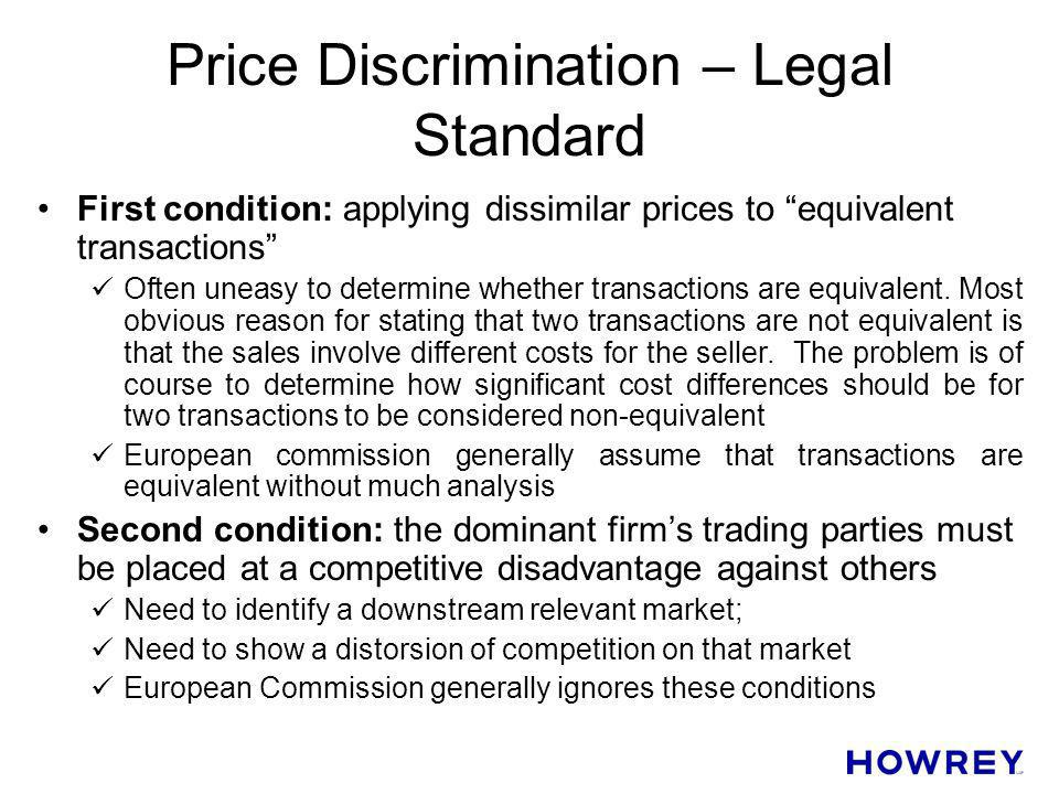 Price Discrimination – Legal Standard