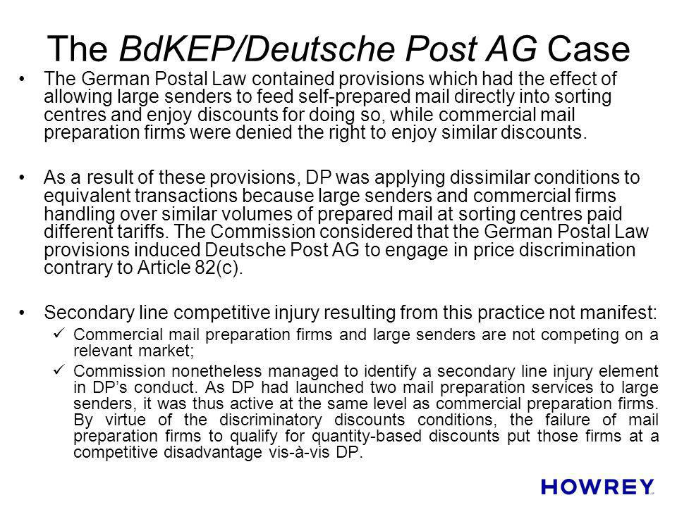 The BdKEP/Deutsche Post AG Case