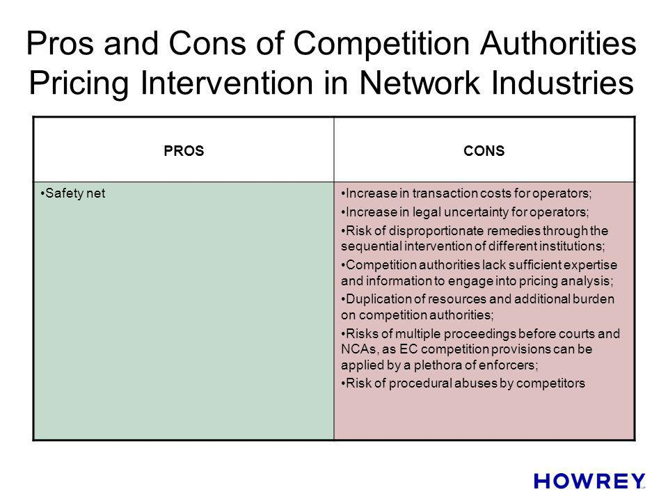 Pros and Cons of Competition Authorities Pricing Intervention in Network Industries