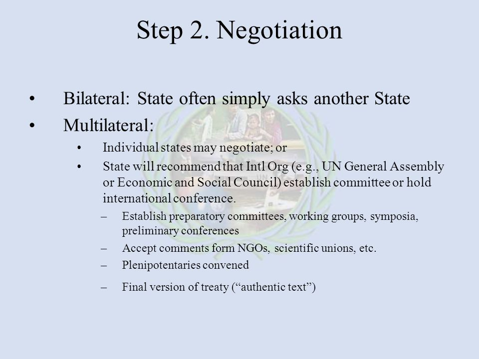 Step 2. Negotiation Bilateral: State often simply asks another State