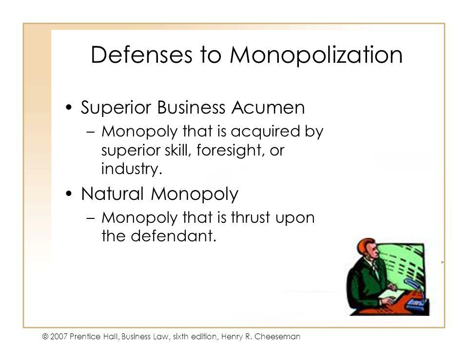 Defenses to Monopolization