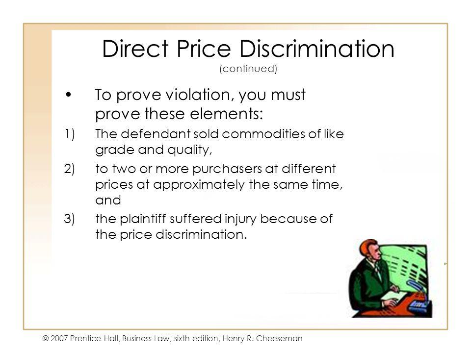 Direct Price Discrimination (continued)