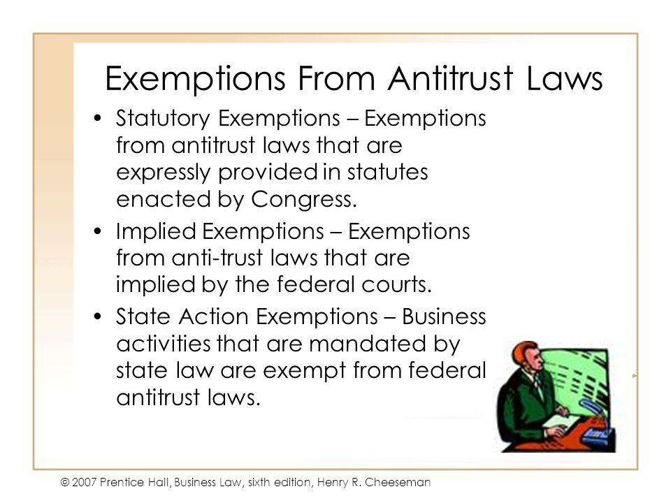 Exemptions From Antitrust Laws