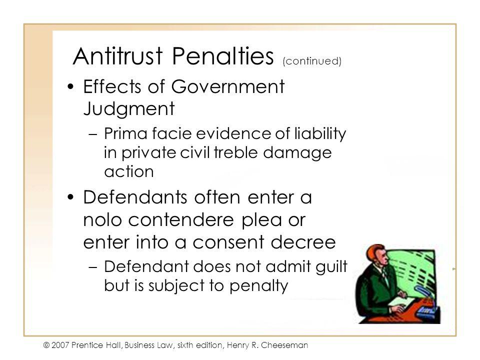 Antitrust Penalties (continued)