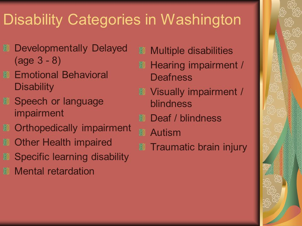 Disability Categories in Washington