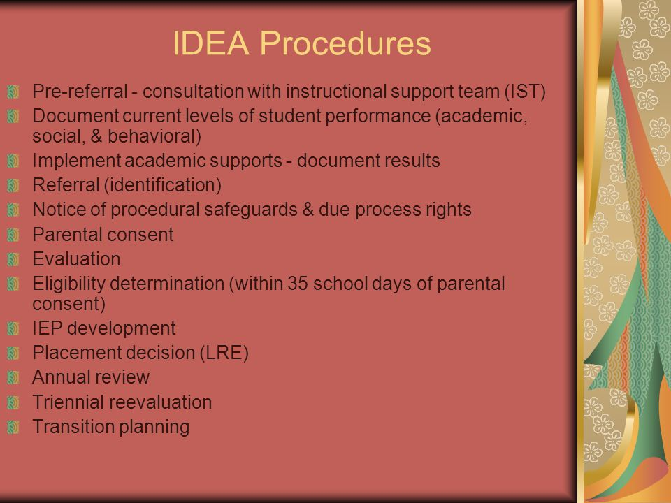 IDEA Procedures Pre-referral - consultation with instructional support team (IST)