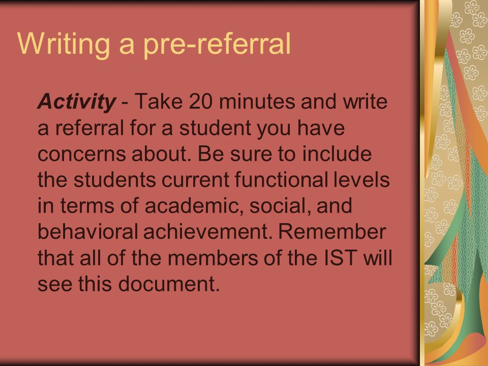 Writing a pre-referral