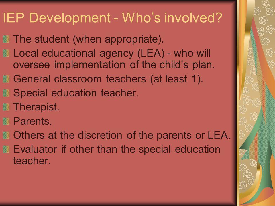 IEP Development - Who's involved
