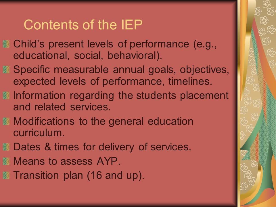 Contents of the IEP Child's present levels of performance (e.g., educational, social, behavioral).