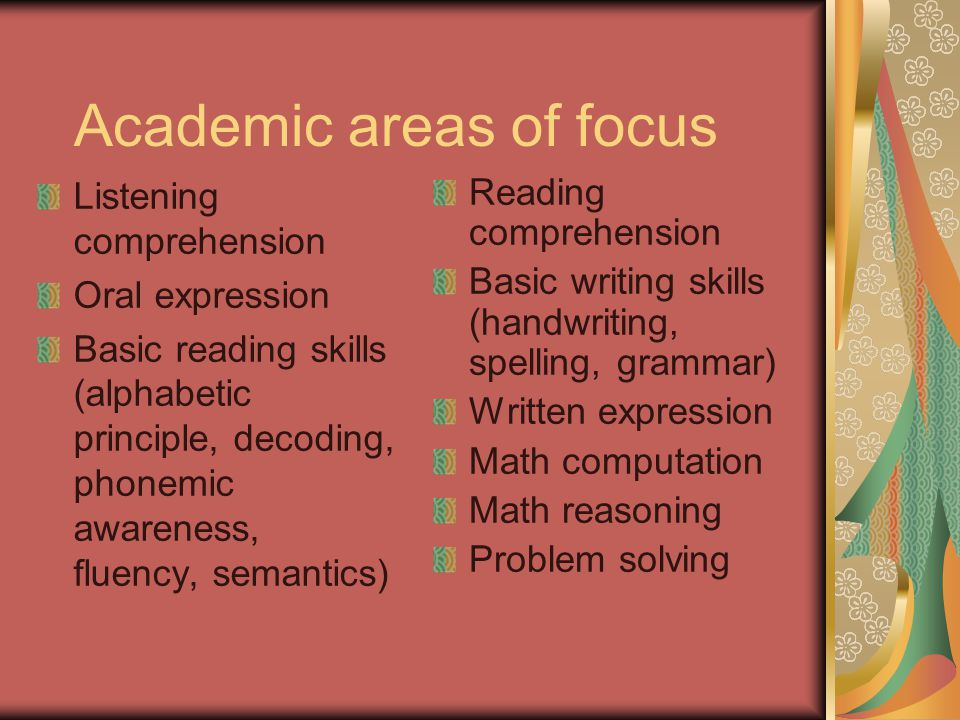 Academic areas of focus