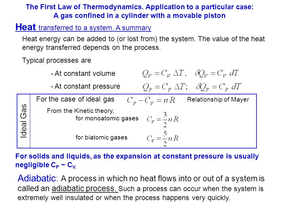 Heat transferred to a system. A summary