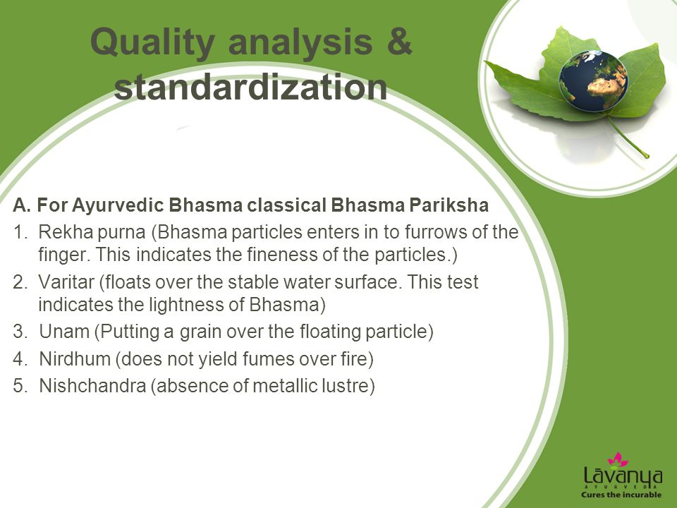 Quality analysis & standardization