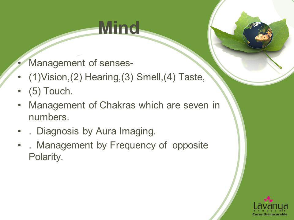 Mind Management of senses- (1)Vision,(2) Hearing,(3) Smell,(4) Taste,
