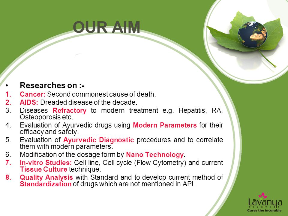 our aim Researches on :- Cancer: Second commonest cause of death.