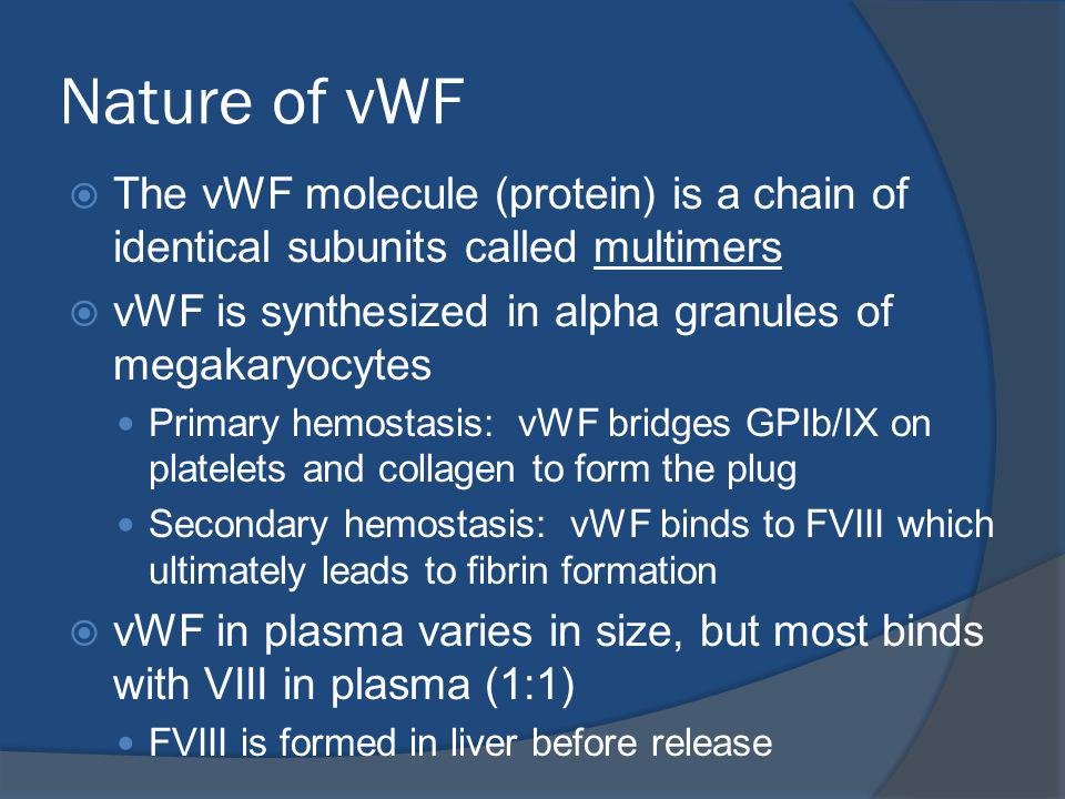 Nature of vWF The vWF molecule (protein) is a chain of identical subunits called multimers. vWF is synthesized in alpha granules of megakaryocytes.