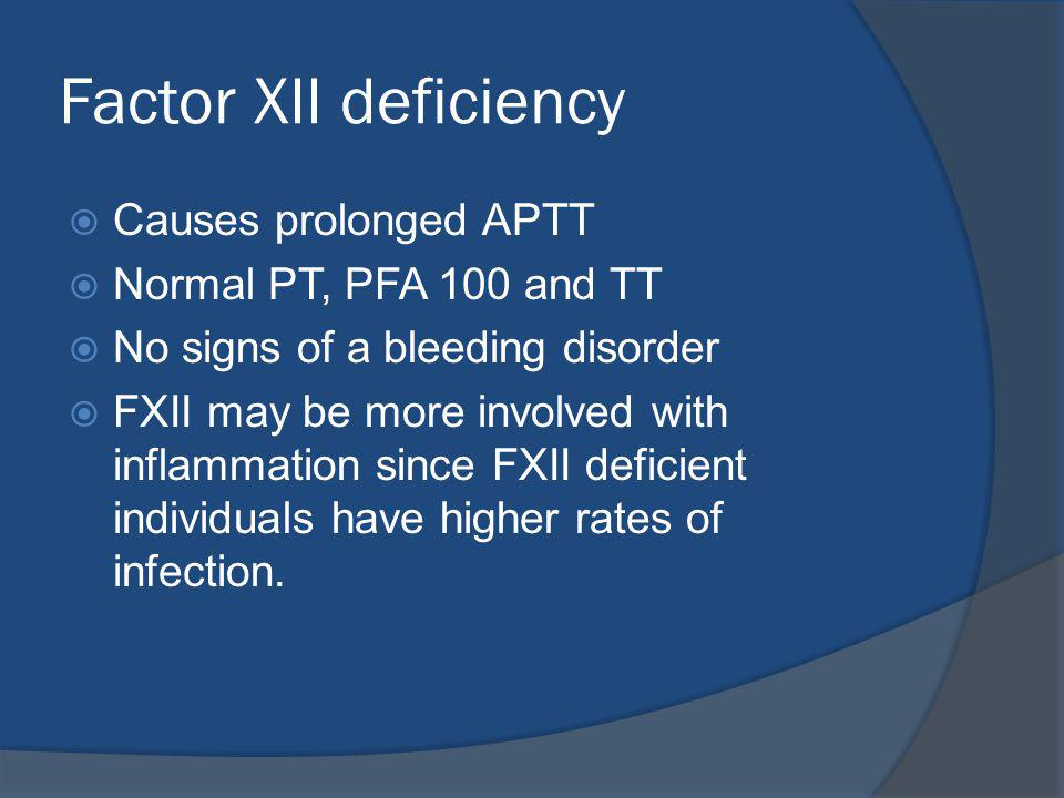 Factor XII deficiency Causes prolonged APTT Normal PT, PFA 100 and TT