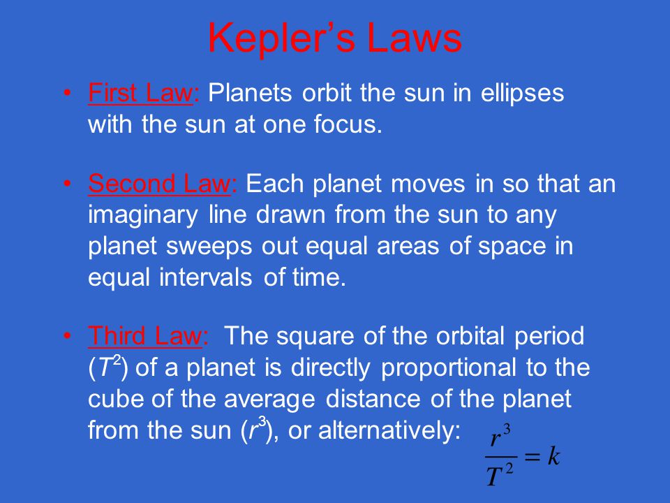 Kepler's Laws First Law: Planets orbit the sun in ellipses with the sun at one focus.