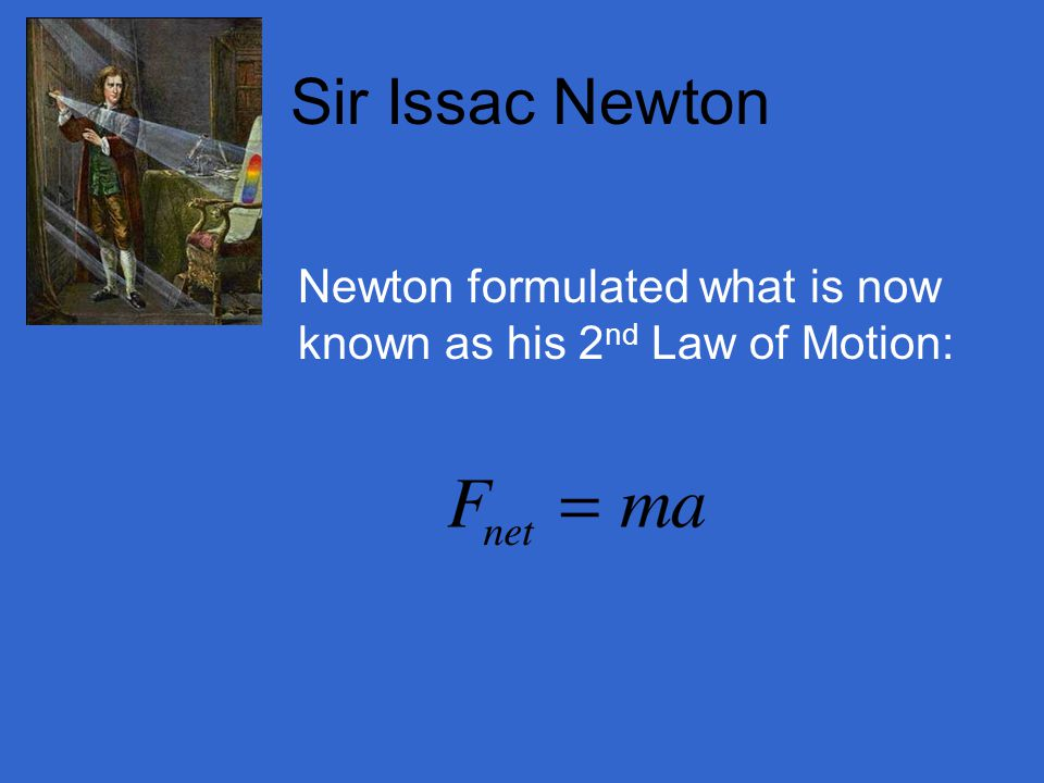 Sir Issac Newton Newton formulated what is now known as his 2nd Law of Motion: