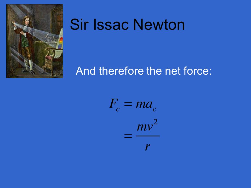 Sir Issac Newton And therefore the net force: