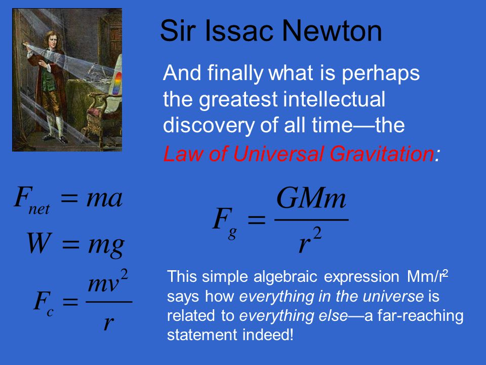 Sir Issac Newton And finally what is perhaps the greatest intellectual discovery of all time—the. Law of Universal Gravitation: