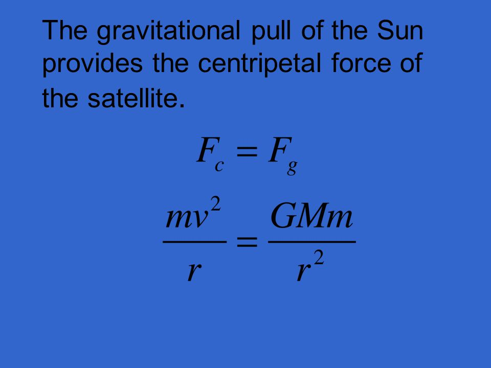 The gravitational pull of the Sun provides the centripetal force of the satellite.