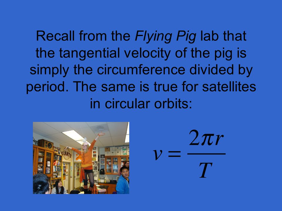 Recall from the Flying Pig lab that the tangential velocity of the pig is simply the circumference divided by period.