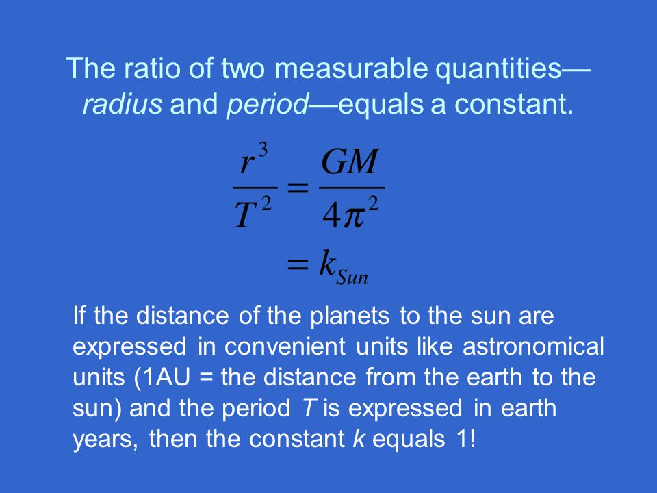 The ratio of two measurable quantities—radius and period—equals a constant.
