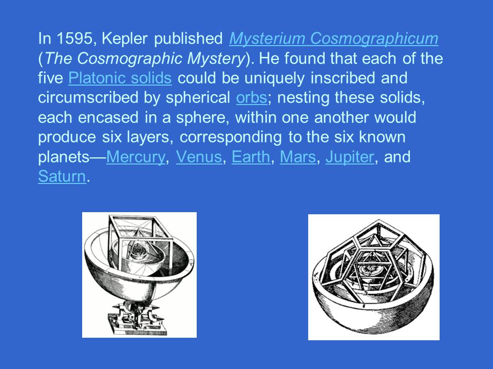 In 1595, Kepler published Mysterium Cosmographicum (The Cosmographic Mystery).