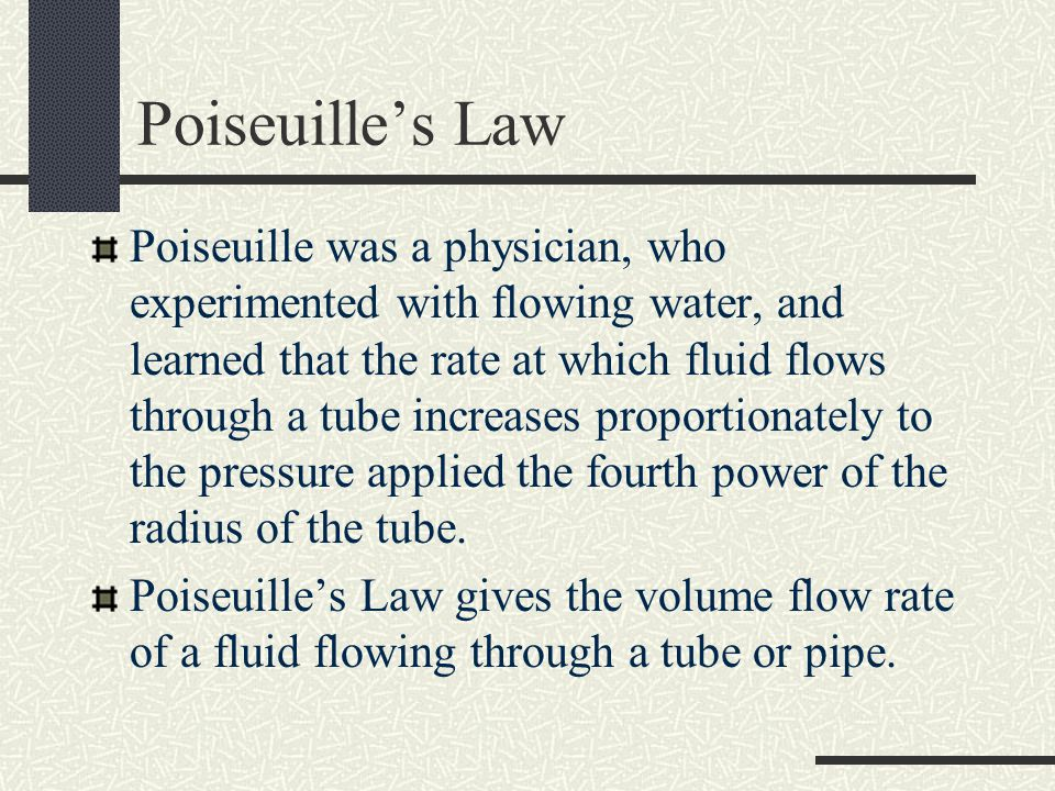 Poiseuille's Law