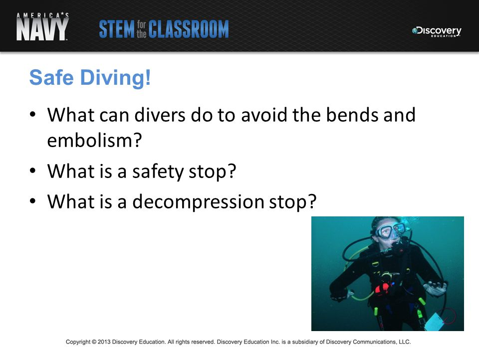 What can divers do to avoid the bends and embolism