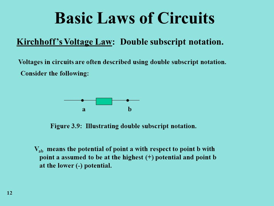 Basic Laws of Circuits Kirchhoff's Voltage Law: Double subscript notation.