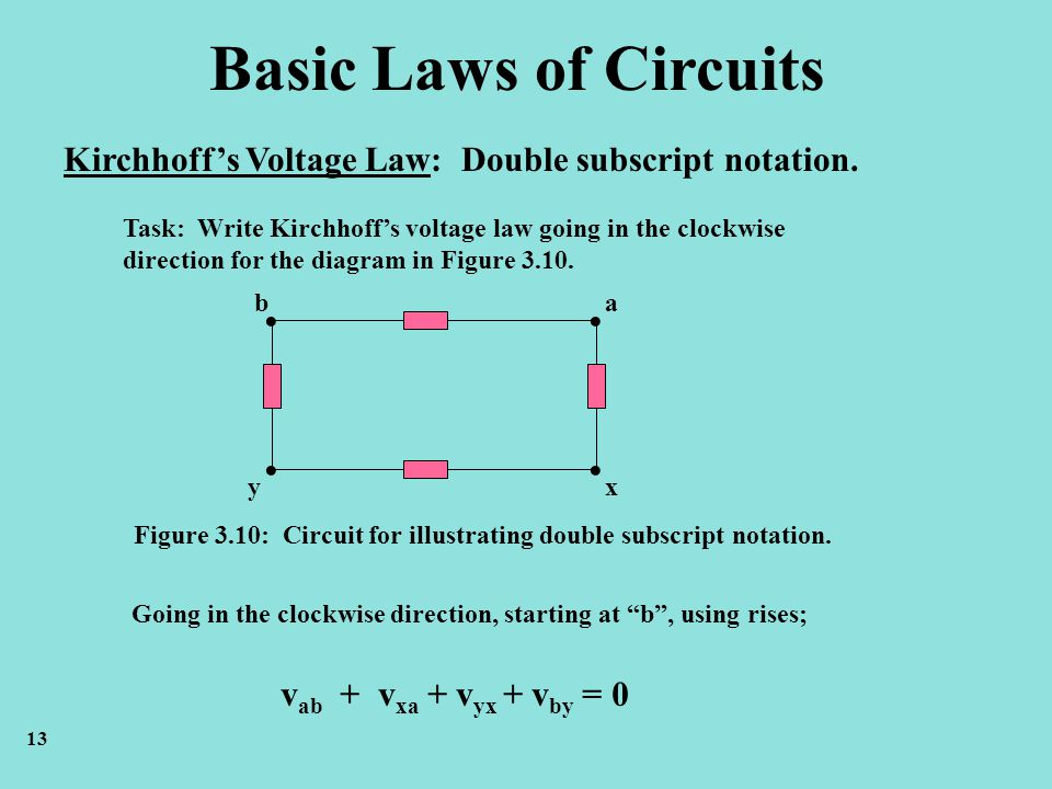 Basic Laws of Circuits Kirchhoff's Voltage Law: Double subscript notation. Task: Write Kirchhoff's voltage law going in the clockwise.