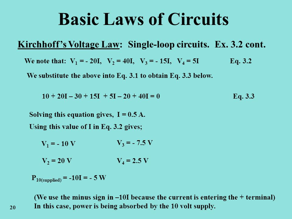 Basic Laws of Circuits Kirchhoff's Voltage Law: Single-loop circuits. Ex. 3.2 cont.