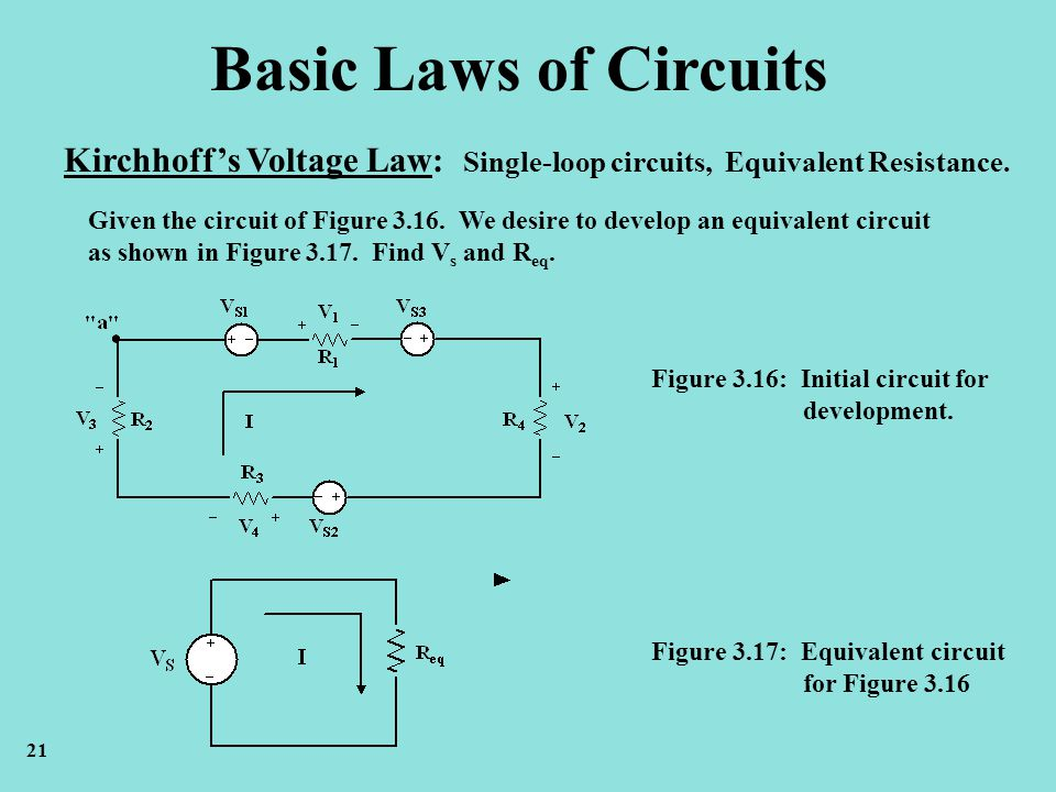 Basic Laws of Circuits Kirchhoff's Voltage Law: Single-loop circuits, Equivalent Resistance.
