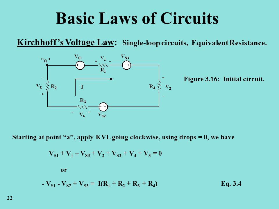 Basic Laws of Circuits Kirchhoff's Voltage Law: Single-loop circuits, Equivalent Resistance. Figure 3.16: Initial circuit.