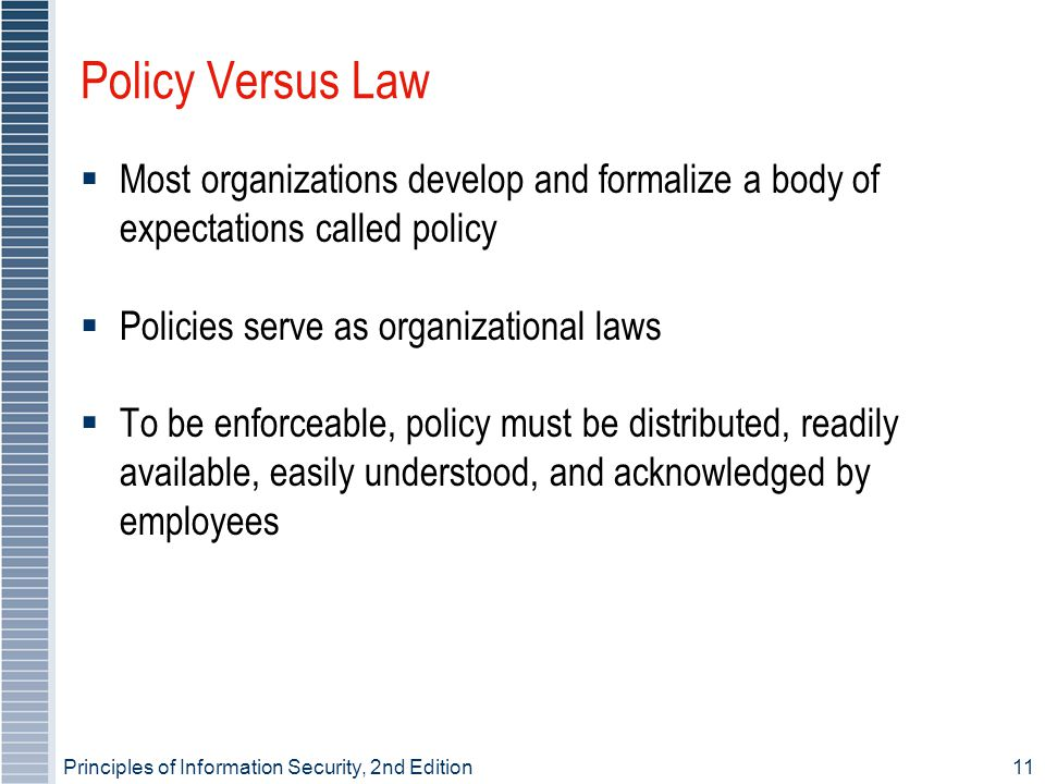 Policy Versus Law Most organizations develop and formalize a body of expectations called policy. Policies serve as organizational laws.
