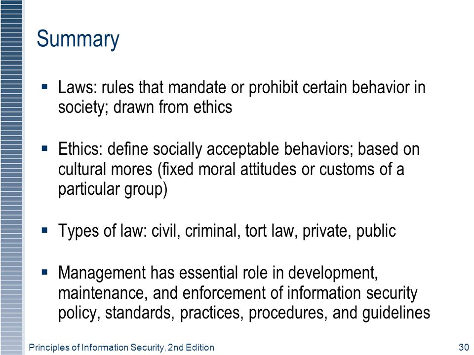 Summary Laws: rules that mandate or prohibit certain behavior in society; drawn from ethics.
