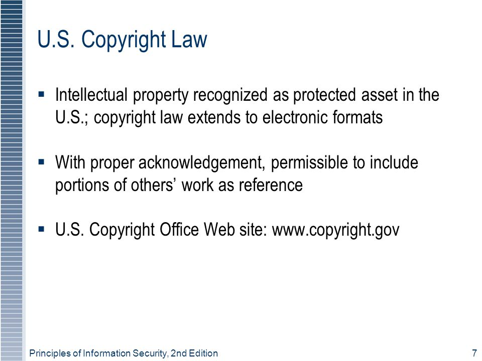 U.S. Copyright Law Intellectual property recognized as protected asset in the U.S.; copyright law extends to electronic formats.