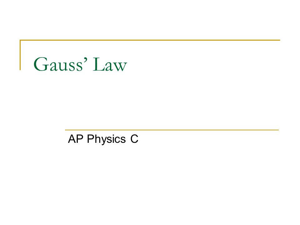 Gauss' Law AP Physics C