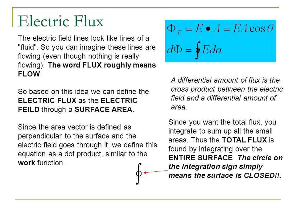 Electric Flux The electric field lines look like lines of a fluid . So you can imagine these lines are.