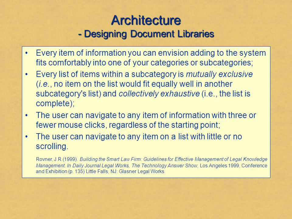 Architecture - Designing Document Libraries