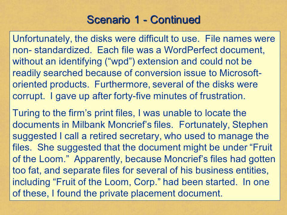 Scenario 1 - Continued
