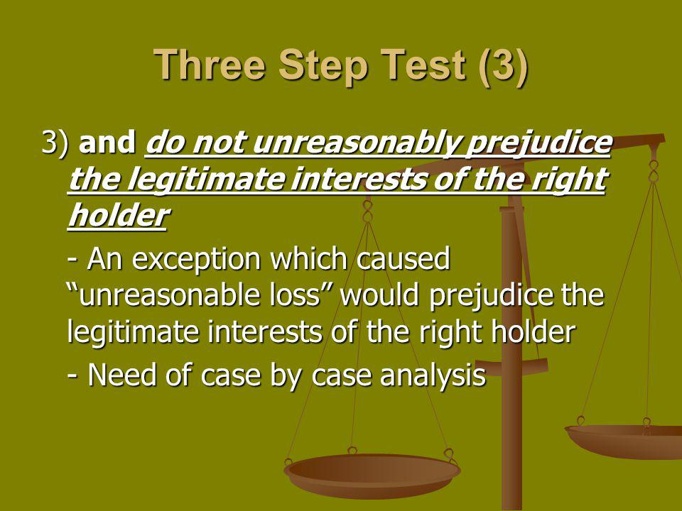Three Step Test (3) 3) and do not unreasonably prejudice the legitimate interests of the right holder.