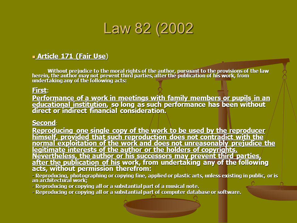 Law 82 (2002 Article 171 (Fair Use) First: