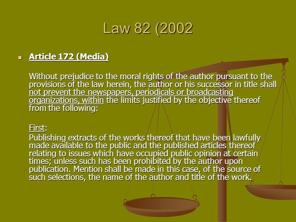 Law 82 (2002 Article 172 (Media)
