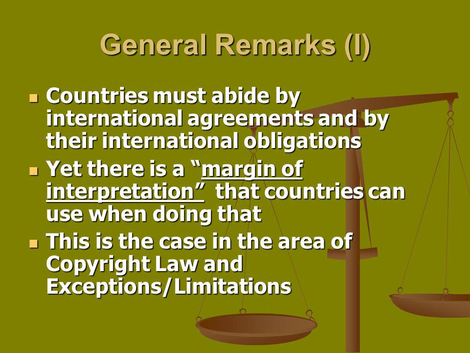 General Remarks (I) Countries must abide by international agreements and by their international obligations.