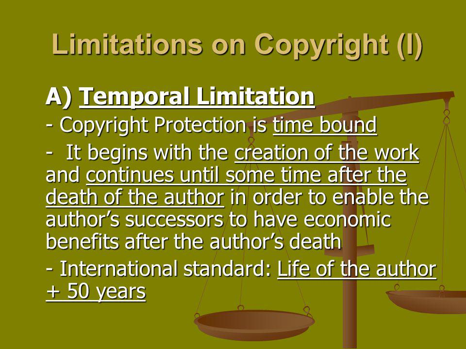 Limitations on Copyright (I)