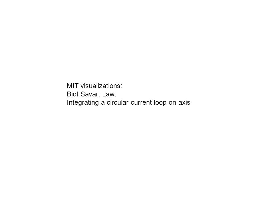 MIT visualizations: Biot Savart Law, Integrating a circular current loop on axis