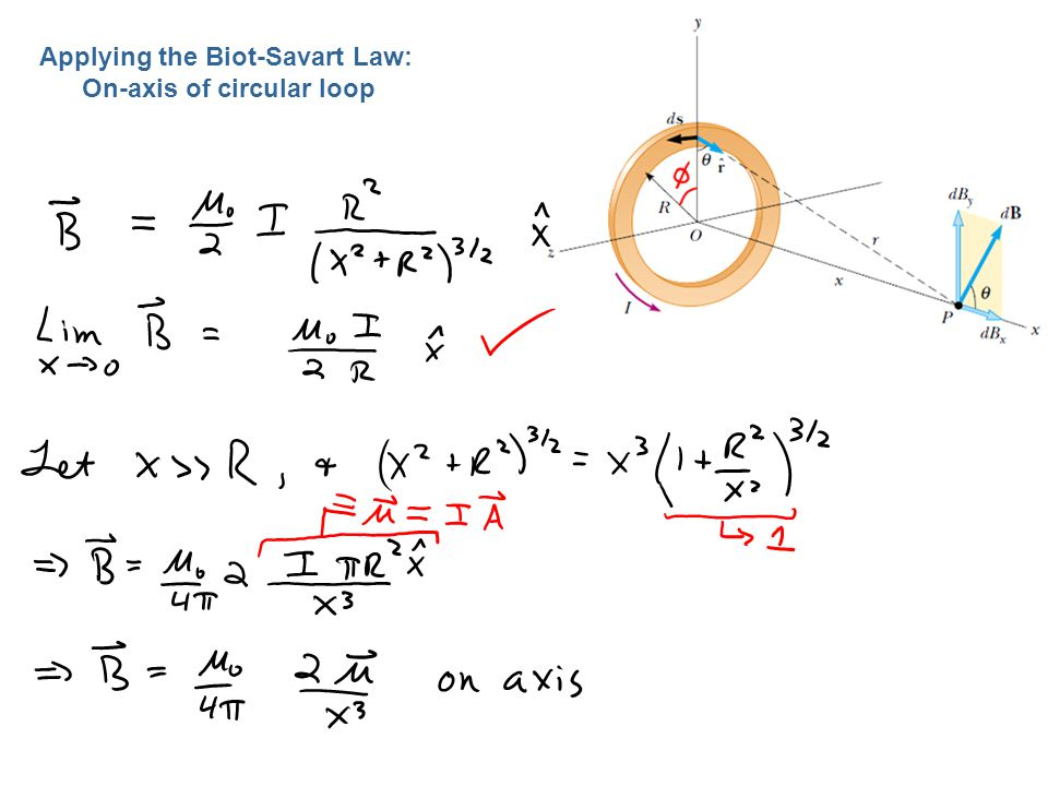 Applying the Biot-Savart Law: On-axis of circular loop